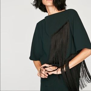 ZARA Fringe Boatneck Tailored Top